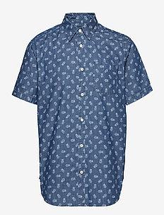 Print Denim Short Sleeve Shirt - BLUE PINEAPPLES