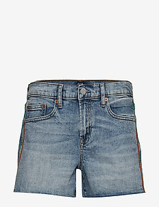 "Gap + Pride Mid Rise 3"" Embroidered Denim Shorts - MEDIUM INDIGO 8"