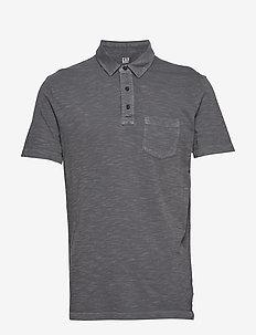 Vintage Slub Jersey Polo Shirt - kortærmede - soft black