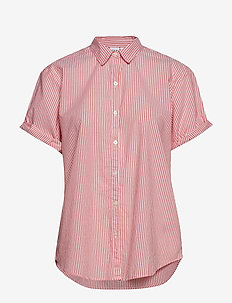 Roll Sleeve Stripe Shirt - RED STRIPE COMBO A