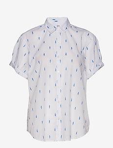 Print Roll Sleeve Shirt - CLIPDOTSBLUE