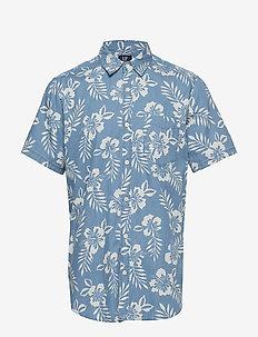 Print Denim Short Sleeve Shirt - HAWAIIAN SCENIC BLUE