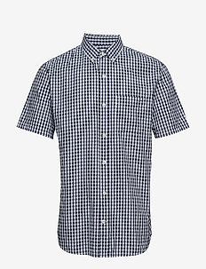 SS SEERSUCKER SHIRT - NAVY GINGHAM
