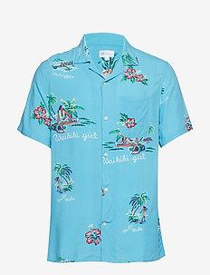 Print Camp Shirt - AQUA BLUE SKY PRINT