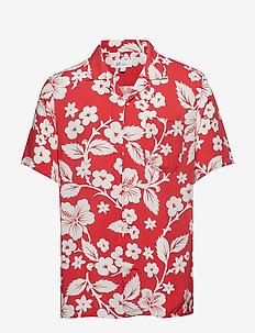 Print Camp Shirt - RED FLORAL PRINT