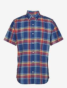 Slub Cotton Pattern Short Sleeve Shirt - BLUE MULTI PLAID