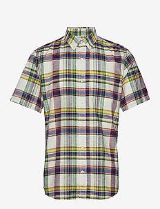 Slub Cotton Pattern Short Sleeve Shirt - GREEN MULTI PLAID