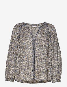Embroidered Print Peasant Blouse - blouses à manches longues - blue floral