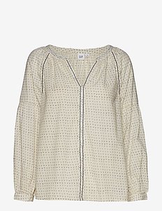 Embroidered Print Peasant Blouse - blouses à manches longues - white dots