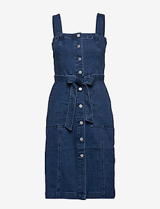 SHANK FRONT DENIM DRESS MED WASH - MEDIUM WASH