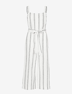 Apron Wide-Leg Jumpsuit in Linen-Cotton - BLACK STRIPE