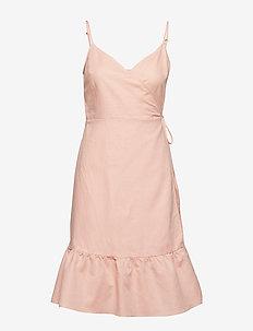 Ruffle Cami Wrap Dress in Linen Cotton - DUSTY PINK
