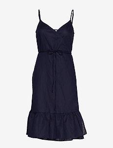 Ruffle Cami Wrap Dress in Linen Cotton - NAVY UNIFORM