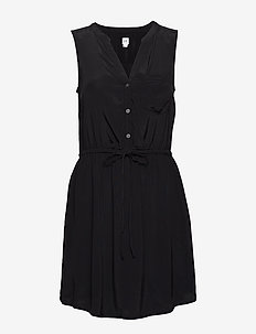 Perfect Sleeveless Tie-Waist Shirtdress - TRUE BLACK