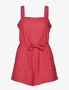 Square-Neck Cami Romper - RED PEACH 2