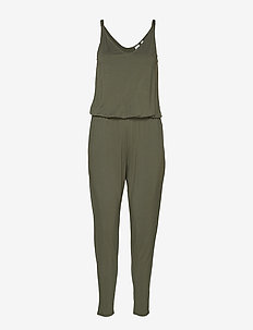 Strappy Cami Jumpsuit - TWEED GREEN