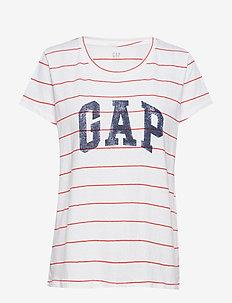 Gap Logo Stripe Crewneck T-Shirt - RED STRIPE GAP
