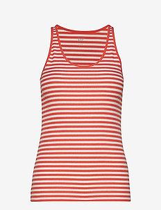 Flat Back Rib Stripe Tank Top - hauts sans manches - pure red stripe