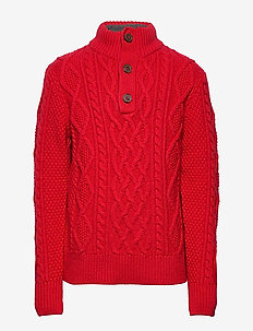Kids Cable-Knit Mockneck Sweater - habits tricotés - modern red 2