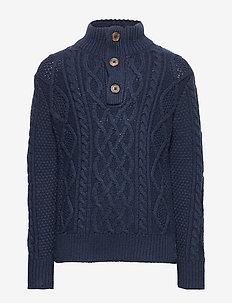 Kids Cable-Knit Mockneck Sweater - TAPESTRY NAVY