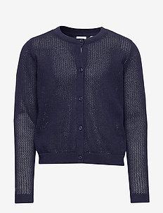 Kids Pointelle Cardigan Sweater - cardigans - navy uniform