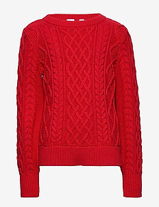 Kids Cable-Knit Sweater - habits tricotés - modern red 2