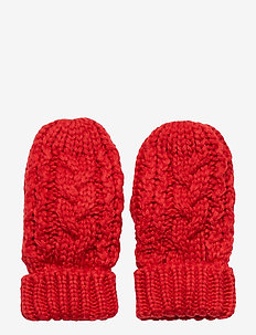 Toddler Cable-Knit Mittens - winter clothing - modern red 2