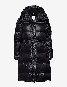 Long Down High Shine Puffer Coat - padded coats - true black v2 2