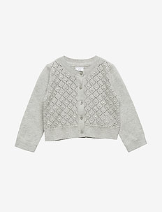 Toddler Crop Pointelle Cardigan Sweater - gilets - b10 grey heather