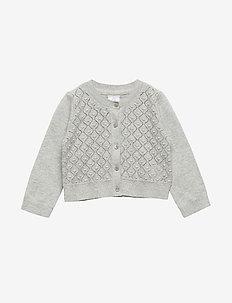 Toddler Crop Pointelle Cardigan Sweater - B10 GREY HEATHER