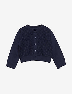 Toddler Crop Pointelle Cardigan Sweater - NAVY UNIFORM