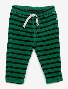 Baby Stripe Fleece Pants - bottoms - president green