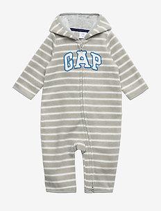 Baby Gap Logo Print One-Piece - manches longues - light heather grey b08