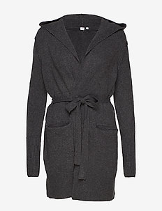 Boucle Longline Hooded Cardigan Sweater - CHARCOAL HEATHER