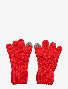 Kids Cable-Knit Smartphone Gloves - vanter - modern red 2