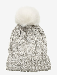 Kids Cable-Knit Pom Beanie - chapeaux - b10 grey heather