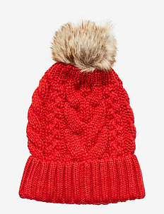 Kids Cable-Knit Pom Beanie - chapeaux - modern red 2