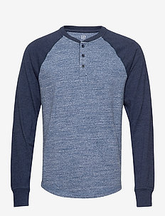 Marled Henley - BLUE NAVY COLORBLOCK