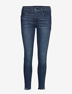 Mid Rise Favorite Jeggings with Raw Hem - DARK INDIGO V2