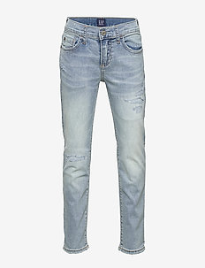 Kids Destructed Slim Jeans with Stretch - jeans - light wash