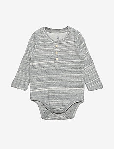 Baby Henley Bodysuit - manches longues - grey heather b03
