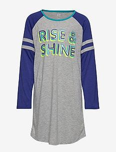 Kids Graphic PJ Dress - LIGHT HEATHER GREY B08