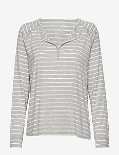 Split-Neck Modal Henley - GREY STRIPE