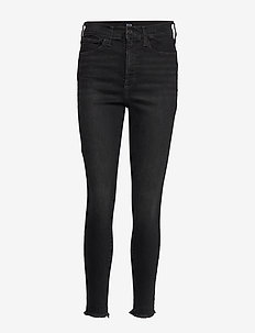 High Rise Favorite Jeggings with Secret Smoothing Pockets - WORN BLACK DESTROY