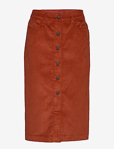 Corduroy Button-Front Midi Skirt - COPPER SPICE 245