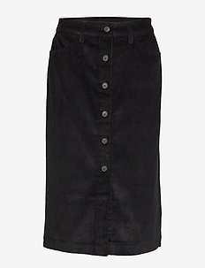 Corduroy Button-Front Midi Skirt - TRUE BLACK V2 3