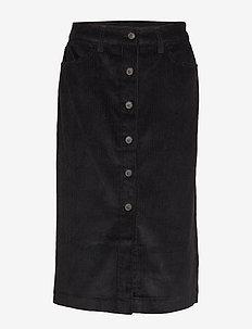 Corduroy Button-Front Midi Skirt - jupes midi - true black v2 3