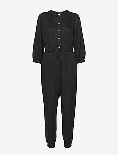 Blouson Sleeve Jumpsuit in TENCEL™ - TRUE BLACK V2 2