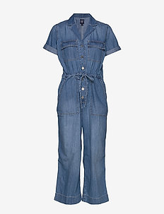 Denim Utility Jumpsuit - MEDIUM WASH