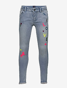 Kids Glitter Graphic Skinny Jeans with Stretch - LIGHT WASH